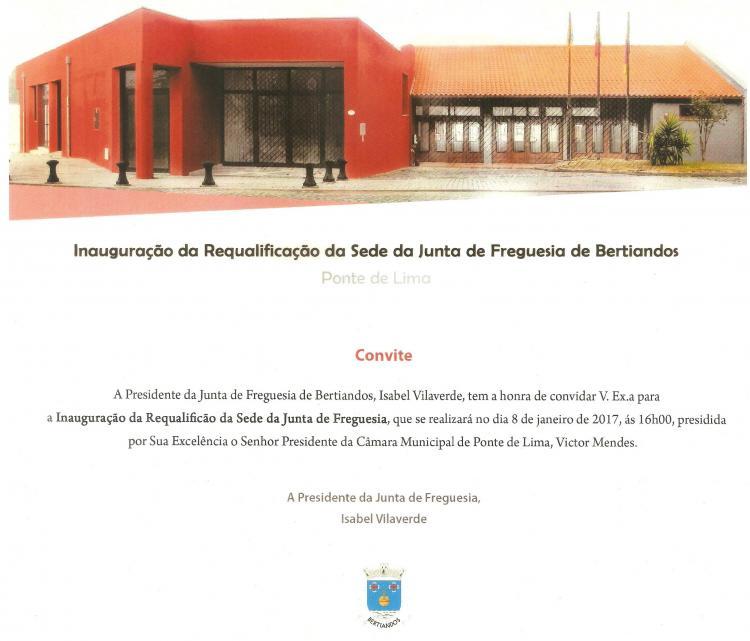 Convite Inauguração da Requalificação de Sede da Junta