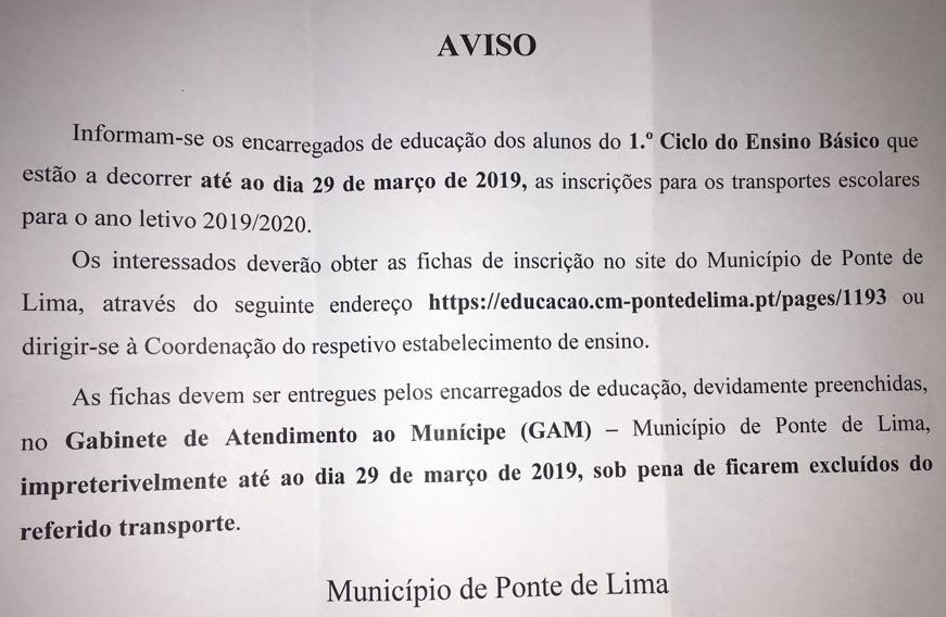 Transportes Escolares 2019-2019