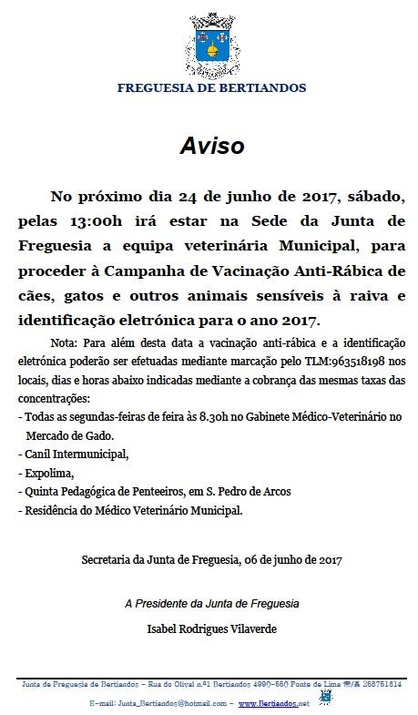 Vacinação Anti-Rábica e identificação eletrónica 2017.