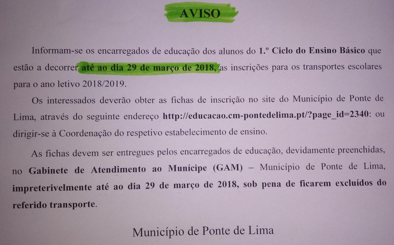Transportes Escolares 1º Ciclo 2018-2019