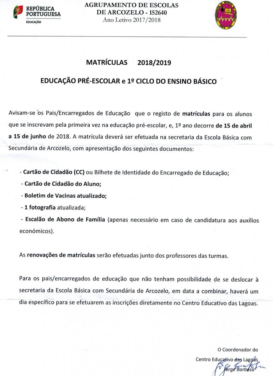 Matrículas Centro Educativo das Lagoas