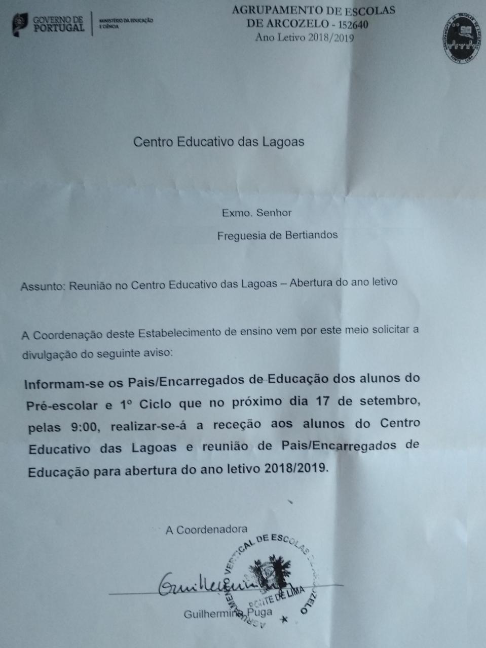 Informação / Aviso  Centro Educativo das Lagoas